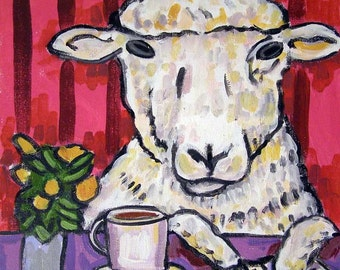 Ram at the Coffee Shop Sheep Art Tile