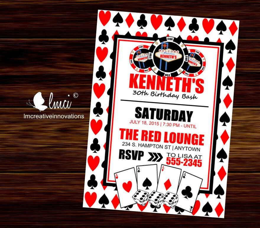Casino Night Invitation Las Vegas Birthday Invitation