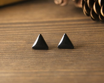 Black earrings - triangle stud earrings - geometric - minimalist