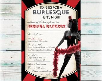 Burlesque Hen's Night Invitation - DIY Digital File