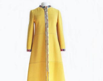 Vintage 60s yellow coat by CuddleCoat / Victor Joris/ multicolor abstract embroidered trim/ designer coat/ Cuddle Coat/ Free US shipping