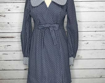 Vintage 60's handmade blue pattern empire waist dress