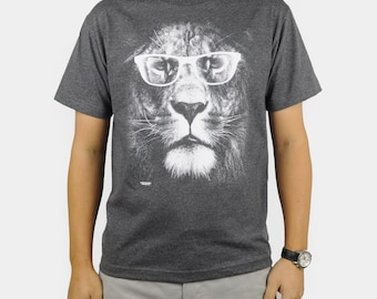 Lion with Glasses T-Shirt Black or Heather Charcoal Retro