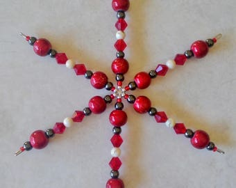 Holiday - beaded snowflake ornament