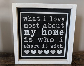 What I Love Most About My Home- Farmhouse Sign