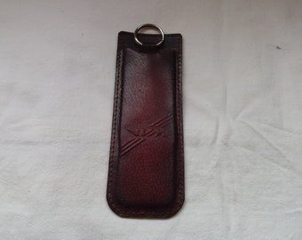 Vintage Dark Red Leather Set -  Pencil Case & Keychain - NEW