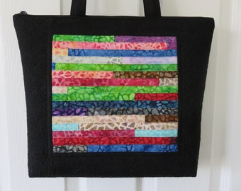 Quilted and Pieced Patchwork Tote, Zipper Tote (ZT022)