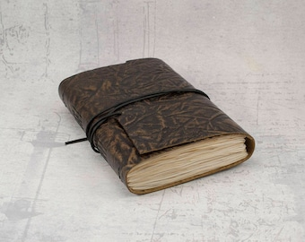 Brown bronze leather journal, embossed sturdy sketchbook, unique notebook A6 travel journal
