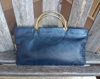 Vintage Clemente Navy Blue Leather Handbag Gold Accent Top Handle Purse