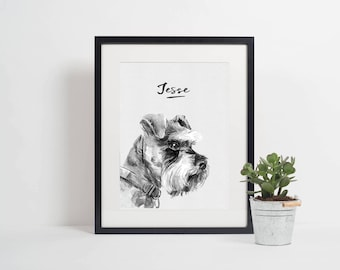 Personalised Miniature Schnauzer Print | Dog Print | Pet Print | Dog Printable | Miniature Schnauzer Printable | Dog Decor