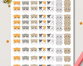 Cats Heads MINI sheets Checklists Planner Stickers |  Animals | Pets