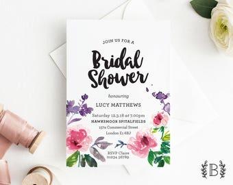 Peonies Bridal Shower Invitation - DIY Printable File