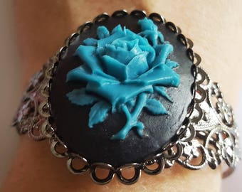 Gothic Gunmetal Filigree Blue Rose Cameo Cuff Bracelet