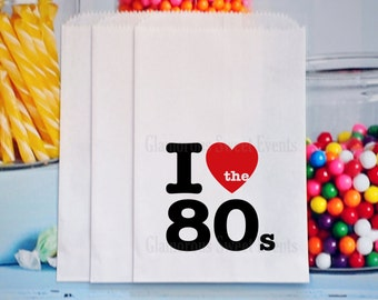 I Love The 80's Candy Bags, 80's Goody Bags, 1980's Treat Bags, 80's Popcorn Bags, 1980's Party Bags, 80's Theme Party