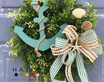 Beach Wreath, Wreath for Small Spaces, Beach Décor, Anchor Wreath, Screen Door Wreath