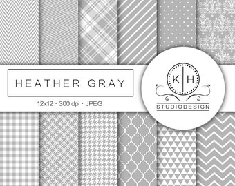 Heather Gray Digital Paper, Light Gray Scrapbooking paper, Plaid Background, Gray Digital Paper, Gray Scrapbooking Paper, Light Gray Paper