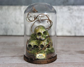 Terrarium Skulls Moss - Miniature Glass Dome Display - Leaf- Home Decor -Goth- Antique Look 2.75 x 1.73 inches / 7 x 4,4 cm