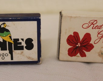 Vintage Collectible Advertising Miniature Matchbook boxes Arnies Chicago & Red Geranium New Harmony IN Dollhouse, Fairy Garden, Diorama