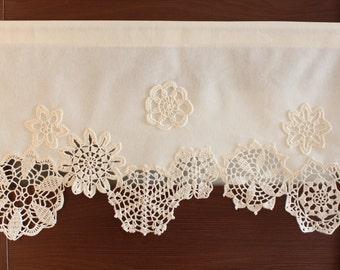 Curtain with crochet doilies, cafe curtain, valance, window decor,