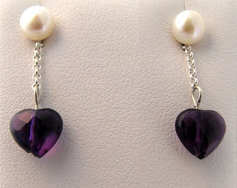 Sterling .925 Silver Earrings with Amethyst Heart and Pearl