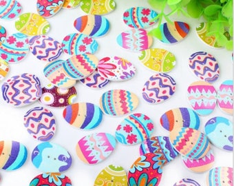 5 wood buttons painted multi-colored Easter egg