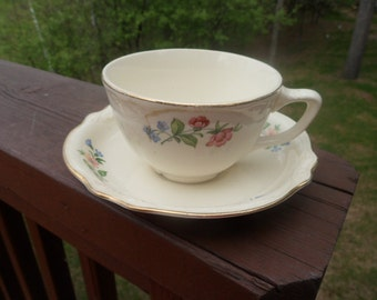 Homer Laughlin Virginia Rose Pattern C51 N8 Cup and Saucer   (T)