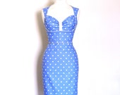 Dusky Blue Polka Dot Bustier Pencil Dress - Made by Dig For Victory