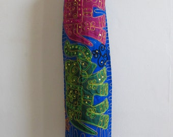 Yoga Mat Bag Pilates Mat Bag handmade Indian pink & green Elephants blue bag ,Sequins free UK delivery (b9) Free gift choice