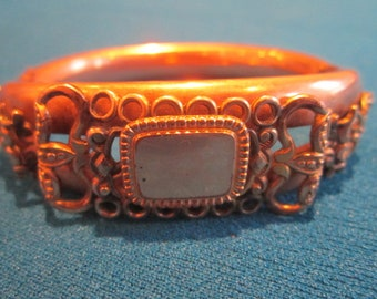 Antique Victorian Edwardian Elaborate Gold Fill Hinged Bangle Bracelet
