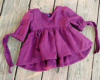 READY TO SHIP-12 month top- hi-low top with ties Plum linen