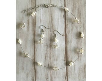 Bridal jewelry / white / off-white / crème / wedding / Bridal jewels 'Anna'