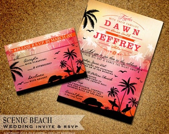 Tropical Beach Wedding Invitation Suite - rsvp and Invitation - Digital or Printed - Surfer and Volkswagen Beetle Car
