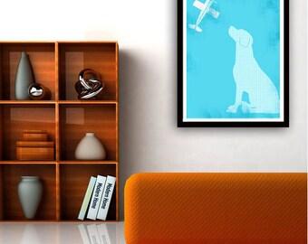 Labrador Retriever Dog, blue color, Silhouette, Dog lover , Fine art print, wall decor, illustration, pet, animal