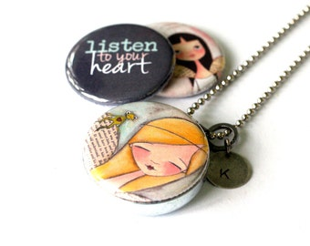 Granddaughter Gift, Granddaughter Jewelry, Locket Necklace for Granddaughter, 3 Lockets in 1, Personalized With Custom Initial, Gift for Her