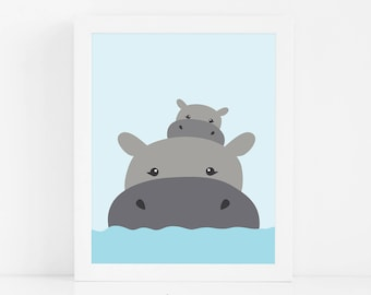 Hippo Nursery Print, Printable Kids Wall Art, Baby Animal Nursery Decor, Baby Shower Gift, Nursery Wall Art, Digital Download Art, Baby Gift