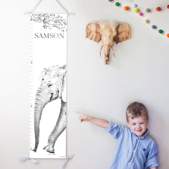 Personalized elephant canvas growth chart