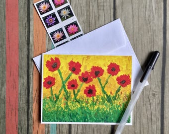 Flower Note Card - Poppy Note Card - Flower Note Card - Floral Card with Envelope - Blank Card - Custom Note Card