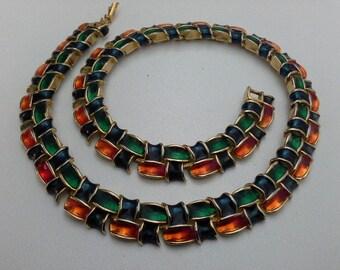 Seventies Basket Weave Choker Necklace Multi Coloured Enamel Red Blue Green on Gold Panel Link Vintage Retro