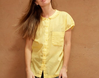 vintage YELLOW soft 60s summer breezy classic button up top blouse