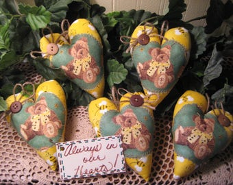 Set of 5 Bear Bee Fabric Hearts - Traditional - Appliqued -  Ornaments - Valentine Decor - Bowl Fillers - Wreath or Garland-Making