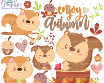 Squirrel Clipart, COMMERCIAL USE, Fall Clipart, Autumn Clipart, Kawaii Clipart, Woodland Clipart, Squirrel Graphics,  Autumn Party
