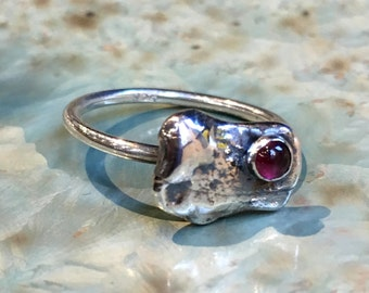 Garnet ring, silver nugget ring, stacking ring, sterling silver ring, birthstone ring, simple dainty ring, delicate ring - Origin R2484-3