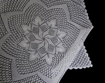 Vintage handmade knitted tablecloth or table topper -- off-white knitted topper with star center and longer corners -- 32 inches / 81 cm
