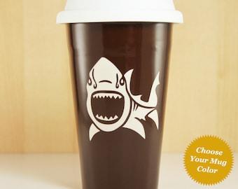 Shark Travel Mug - lidded coffee cup