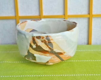 White and brown chawan, teabowl for the Japanese tea ceremony