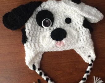 Crochet dalmation hat, spotted puppy dog hat with ear flaps, kids hat, Dalmation hat, spotted dog hat, made to order, photo prop hat