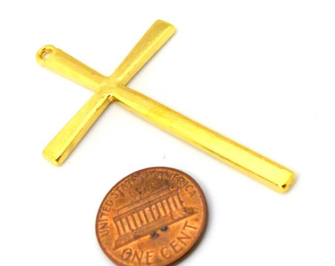 4 pendants - Beautiful Large size Tibetan gold tone plated cross charm pendant - CM164