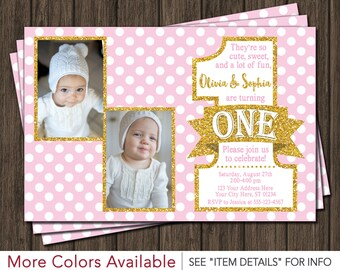 Twin Birthday Invitation - Pink and Gold First Birthday Invitations - Twins 1st Birthday Invite