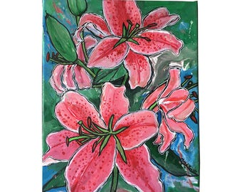Pink Tiger Lilies, Original Flower Acrylic Painting on Canvas, Not Print, Ready to Hang, 8x10