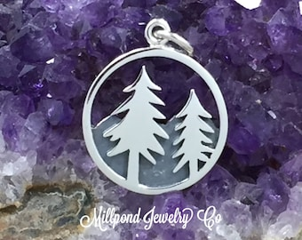 Tree and Mountains Pendant, Tree and Mountains Charm, Mountains Charm, Outdoorsman, Outdoors Charm, Nature Charm, Sterling Silver, PS01438